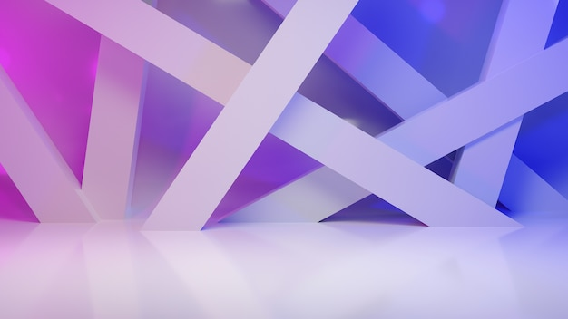Abstract background geometric glossy style with blue and violet light, 3d render