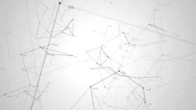 Абстрактный фон, геометрические поверхности, линии, цифры и точки. абстрактная сетка. может использоваться в качестве цифровых динамических обоев, технологического фона.