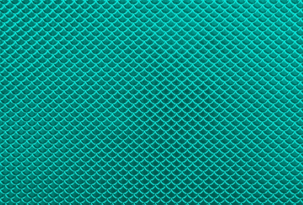 Abstract background of glossy shiny metallic vivid turquoise teal scale shape pattern