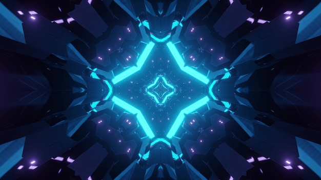 Abstract background of glowing sci fi tunnel in geometric shape illuminated by blue light