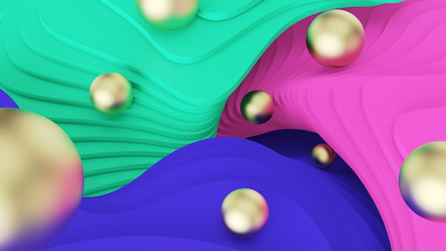 Abstract background. golden balls roll on green, pink and blue steps. psychedelic reality and parallel worlds