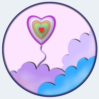 Abstract background heart shaped and clouds paper cut effect on violet background