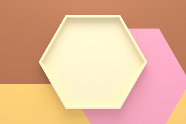 Abstract background of hexagon shape tray. 3d rendering.
