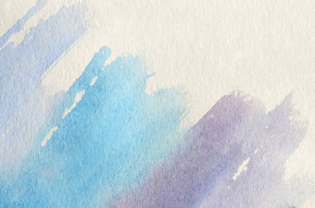 Abstract background illustration in the form of three watercolor strokes performed in cold blue and violet tones