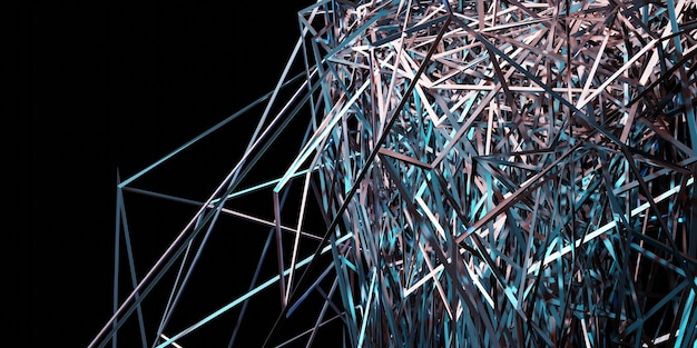 Abstract background intricate contrasting laser beams 3d illustration