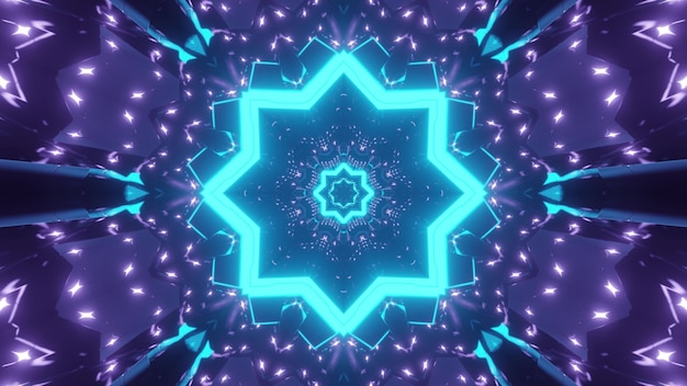 Abstract background of kaleidoscopic endless corridor with geometric shapes glowing with blue and purple neon colors