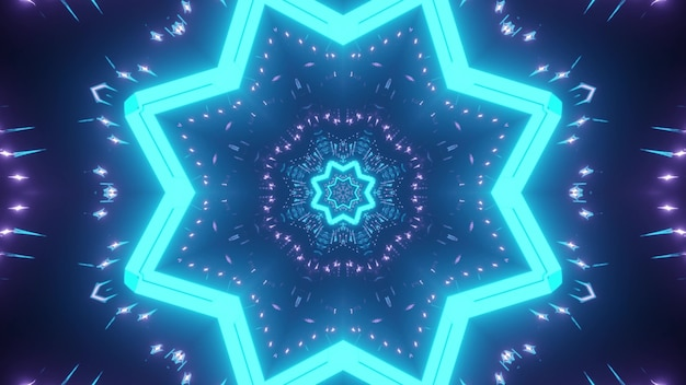 Abstract background of kaleidoscopic endless tunnel with blue and purple neon lights
