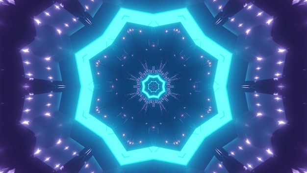 Abstract background of kaleidoscopic endless tunnel with glowing blue neon light