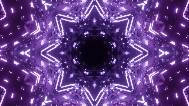 Abstract background of kaleidoscopic geometric tunnel with glowing purple light