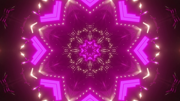 Abstract background of kaleidoscopic pink corridor glowing with vibrant neon light
