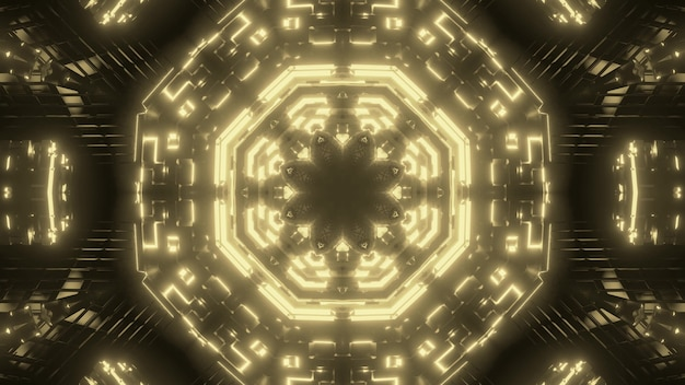 Abstract background of kaleidoscopic sci fi corridor with glowing sepia neon light