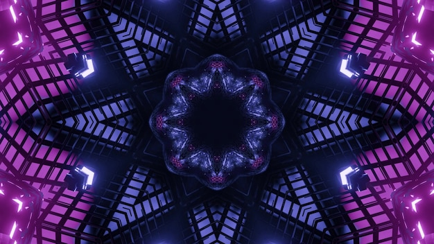 Abstract background of kaleidoscopic star shaped tunnel with geometric shapes illuminated by blue and purple neon colors