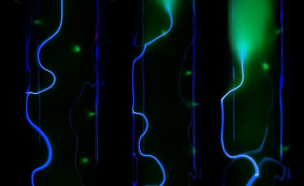 Абстрактный фон молния и синее свечение электрических разрядов в колбах с инертным газом