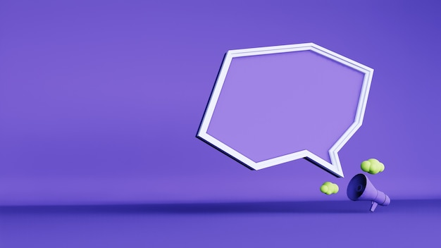 Abstract background, megaphone and frame chat . 3d rendering