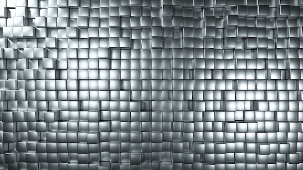 Abstract background of metal randomly moving cubes
