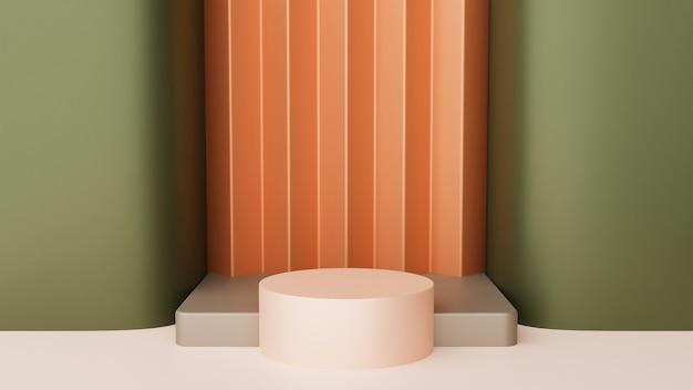 추상적인 배경입니다. 최소한의 상자와 기하학적 곡선 연단. 기하학적 형태가 있는 장면.