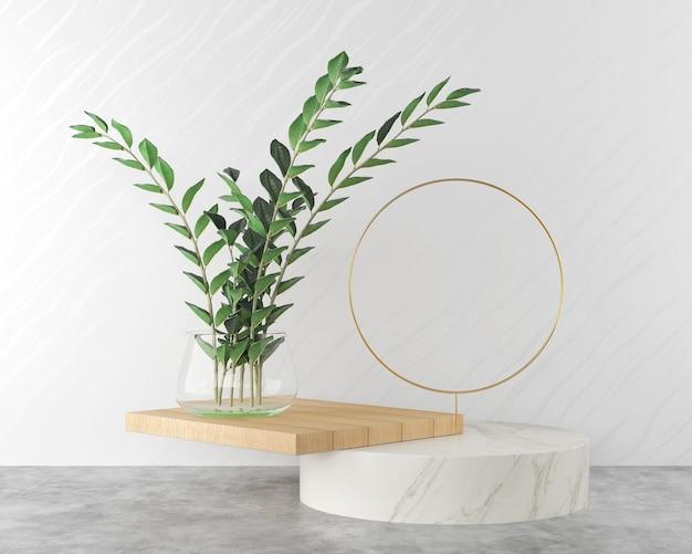 Abstract background, minimal pastel podium display scene.