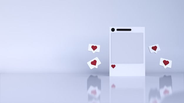 Abstract background minimal scene with podium and blank social media post instagram. 3d render