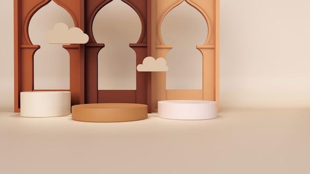 抽象的な背景、ラマダンムバラクの製品展示コンセプトのモックアップシーン。 3dレンダリング