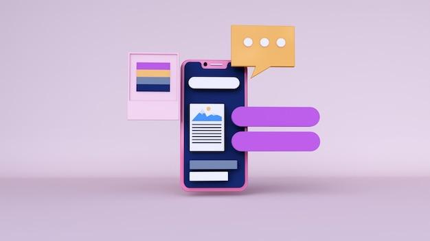 Абстрактный фон, макет приложения для телефона сцены с пространством чата для интернета. 3d рендеринг