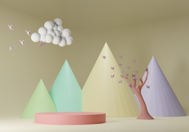 抽象的な背景、製品展示のための表彰台とモックアップシーン。 3dレンダリング。