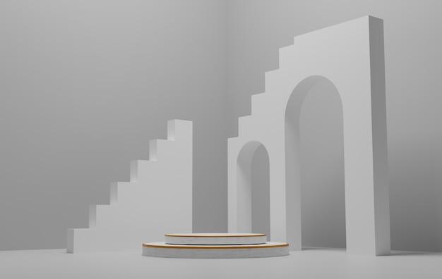 추상적 인 배경, 제품 표시를위한 연단이있는 모형 장면. 3d 렌더링.