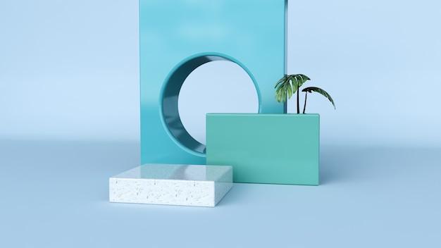 抽象的な背景、製品展示のための表彰台でシーンをモックアップ。 3dレンダリング
