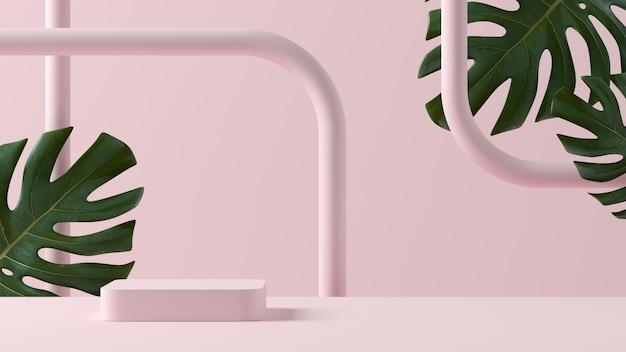 抽象的な背景、製品表示用の表彰台のあるシーンのモックアップ。 3dレンダリング