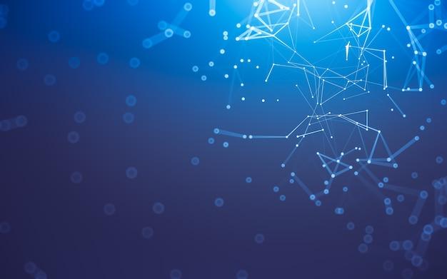 抽象的な背景。点と線を結ぶ多角形の分子技術。接続構造。ビッグデータの視覚化。