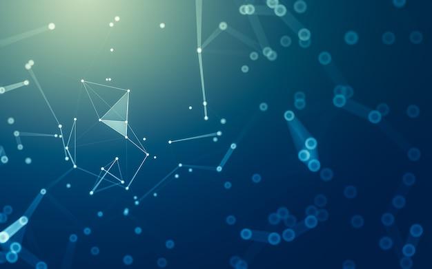 추상적 인 배경. 다각형 모양, 점과 선을 연결하는 분자 기술. 연결 구조. 빅 데이터 시각화.