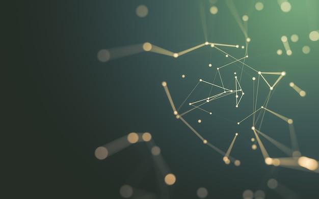 抽象的な背景。点と線をつなぐ多角形の分子技術。接続構造。ビッグデータの視覚化。