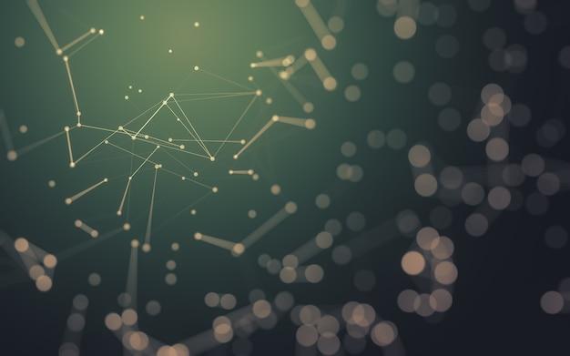 Абстрактный фон. технология молекул с многоугольными формами, соединяющими точки и линии. структура подключения. визуализация больших данных.