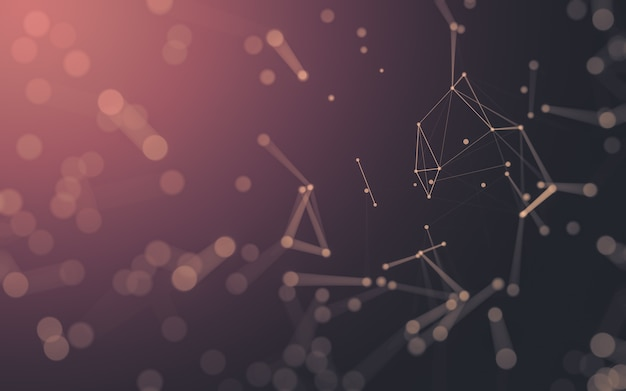 추상적인 배경입니다. 점과 선을 연결하는 다각형 모양의 분자 기술. 연결 구조. 빅 데이터 시각화.