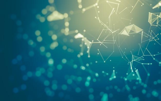 Абстрактный фон технология молекул с многоугольниками, соединяющими точки и линии. структура соединения. визуализация больших данных.