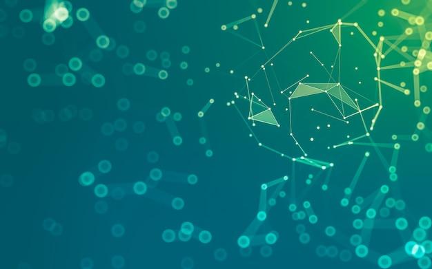 추상적 인 배경. 다각형 모양, 점과 선을 연결하는 분자 기술. 연결 구조.