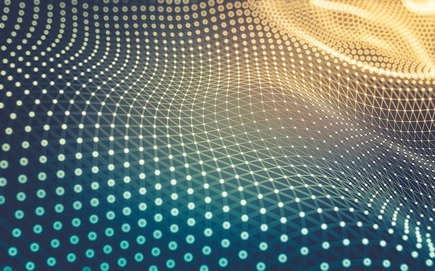 抽象的な背景。点と線を結ぶ多角形の分子技術