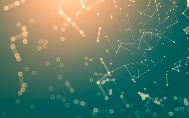 Абстрактный фон. технология молекул с многоугольными формами, соединяющими точки и линии