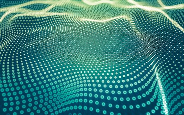 추상적 인 배경. 다각형 모양, 점과 선을 연결하는 분자 기술