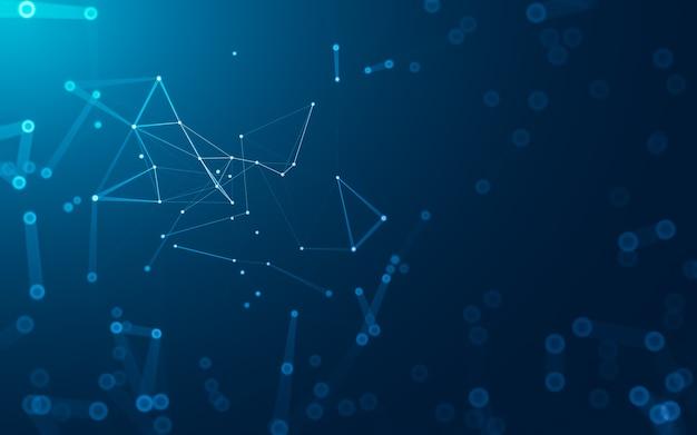 Абстрактный фон. технология молекул с многоугольными формами, соединяющими точки и линии.