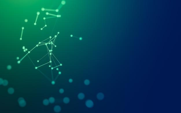 추상적 인 배경. 다각형 모양, 점과 선을 연결하는 분자 기술.