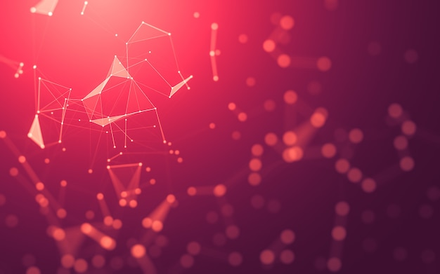 Abstract background. molecules technology with polygonal shapes, connecting dots and lines.