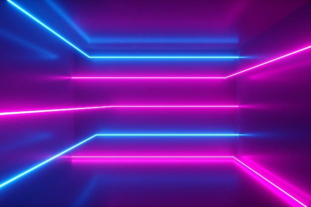 Abstract background, moving neon rays, luminous lines inside the room, fluorescent ultraviolet light, blue red pink violet spectrum, 3d illustration