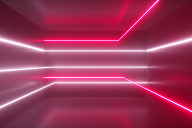 Abstract background, moving neon rays, luminous lines inside the room, fluorescent ultraviolet light, red pink white spectrum, 3d illustration