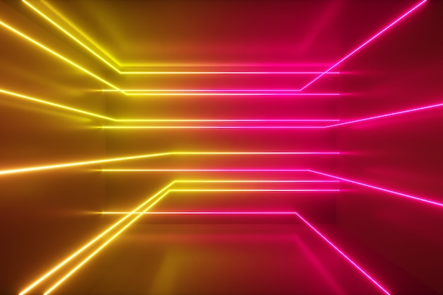 Abstract background, moving neon rays, luminous lines inside the room, fluorescent ultraviolet light, yellow red pink spectrum, 3d illustration