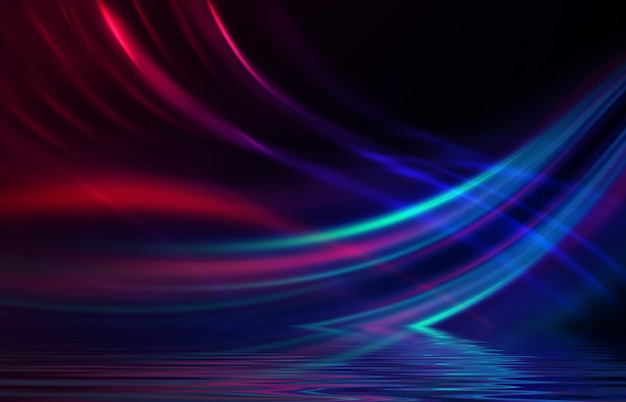 Abstract background neon multicolor light reflects off water beach party light show