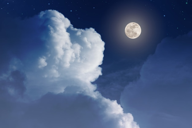 Abstract background night sky with stars and full moon and clouds