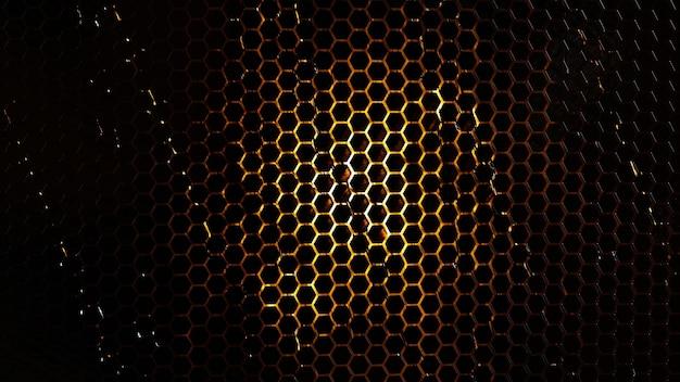 Абстрактный фон из черной шестиугольной плитки с эффектом огня