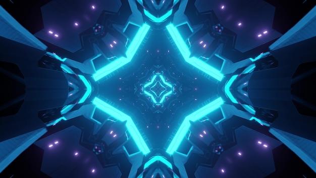 明るく輝くネオンの光と青い未来的なトンネルの抽象的な背景