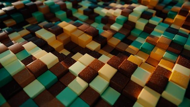 ランダムオフセット効果を持つカラフルな立方体の抽象的な背景。