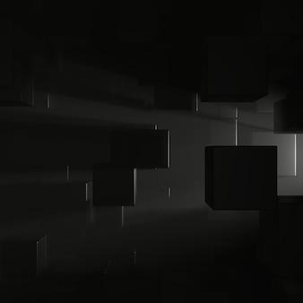 Абстрактная предпосылка формы куба с освещением пирофакела. 3d-рендеринг.